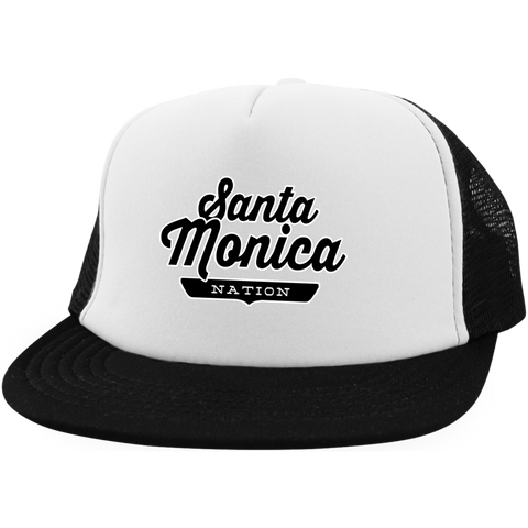White/Black / One Size Santa Monica Nation Trucker Hat with Snapback - The Nation Clothing