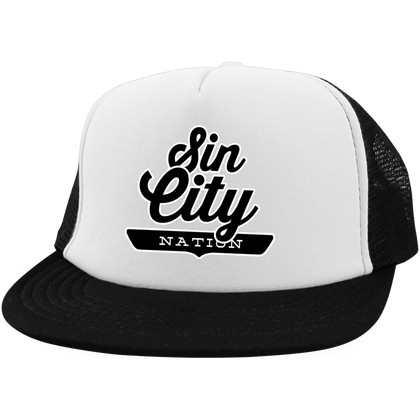 White/Black / One Size Sin City Nation Trucker Hat with Snapback - The Nation Clothing