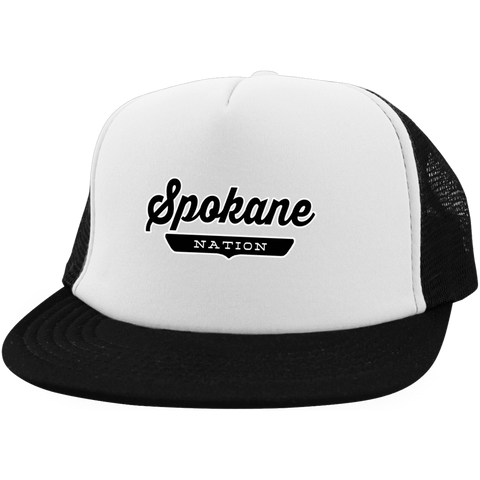 White/Black / One Size Spokane Nation Trucker Hat with Snapback - The Nation Clothing