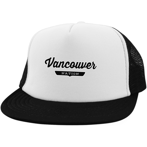 White/Black / One Size Vancouver Nation Trucker Hat with Snapback - The Nation Clothing