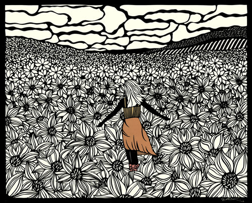 Greeting Card  #2 Alone Not Lonely, woman standing in fielf of flowers by artist Elizabeth VanDuine