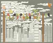 Load image into Gallery viewer, Greeting Card  #1 Urban Respite, birds perched on power line with cityscape in distance by artist Elizabeth VanDuine