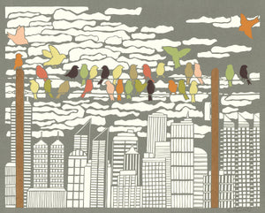 Greeting Card  #1 Urban Respite, birds perched on power line with cityscape in distance by artist Elizabeth VanDuine