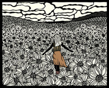 Load image into Gallery viewer, Alone Not Lonely- woman standing in field of flowers by paper cut artist Elizabeth VanDuine