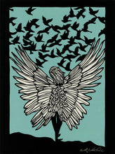 Load image into Gallery viewer, If I Had Wings-poster design by paper cut artist Elizabeth VanDuine