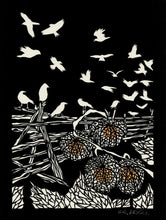 Load image into Gallery viewer, Corvid Chaos-poster design by paper cut artist Elizabeth VanDuine