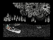 Load image into Gallery viewer, Greeting Card #14 Boom rowboats on the water with fireworks in the sky by artist Elizabeth VanDuine