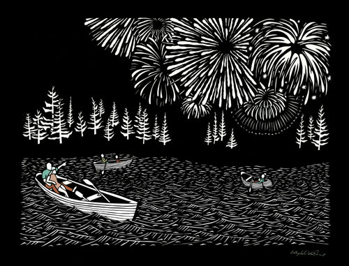 Greeting Card #14 Boom rowboats on the water with fireworks in the sky by artist Elizabeth VanDuine