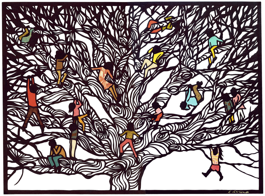 Greeting Card #15 Climbers, children climbing on large tree by artist Elizabeth VanDuine