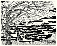 Load image into Gallery viewer, Greeting Card #10 Drawn, woman with tree standing by the water by artist Elizabeth VanDuine