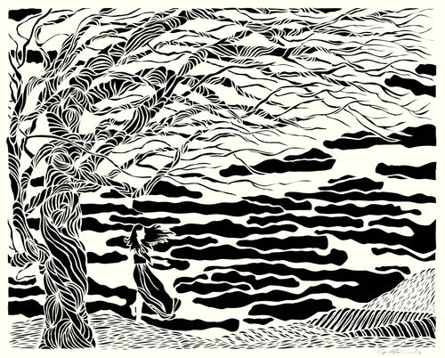 Greeting Card #10 Drawn, woman with tree standing by the water by artist Elizabeth VanDuine