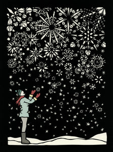 "11"" x 14"" Poster #38 First Flakes, woman catching falling snowflakes by artist Elizabeth VanDuine"