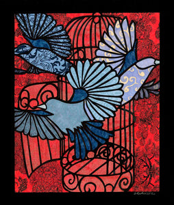 Greeting Card #17 Great Escape, birds flying out of birdcage by artist Elizabeth VanDuine