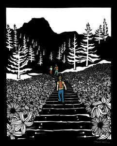 Greeting Card  #19 Happy Place, people hiking trail with mountain, trees and flowers by artist Elizabeth VanDuine