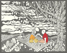 Load image into Gallery viewer, Greeting Card #11 Last Chance, couple toasting on picnic blanket by artist Elizabeth VanDuine
