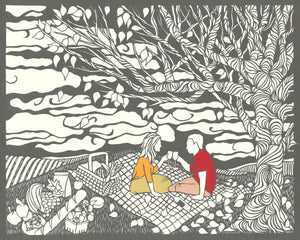 Greeting Card #11 Last Chance, couple toasting on picnic blanket by artist Elizabeth VanDuine