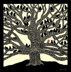 "11"" x 14"" Poster #33 Own It- large tree with several small black birds by artist Elizabeth VanDuine"
