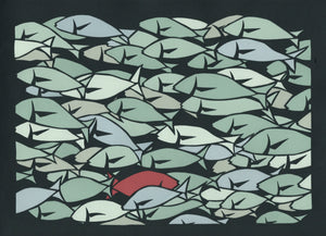 "11"" x 14"" Poster  #45 Up Stream, sea of fish by artist Elizabeth VanDuine"