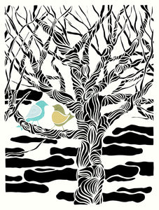 "11"" x 14"" Poster - #30 We- 2 birds perched in a tree by artist Elizabeth VanDuine"