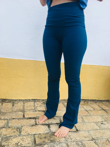 Blue Organic Cotton Flare Bottom Leggings