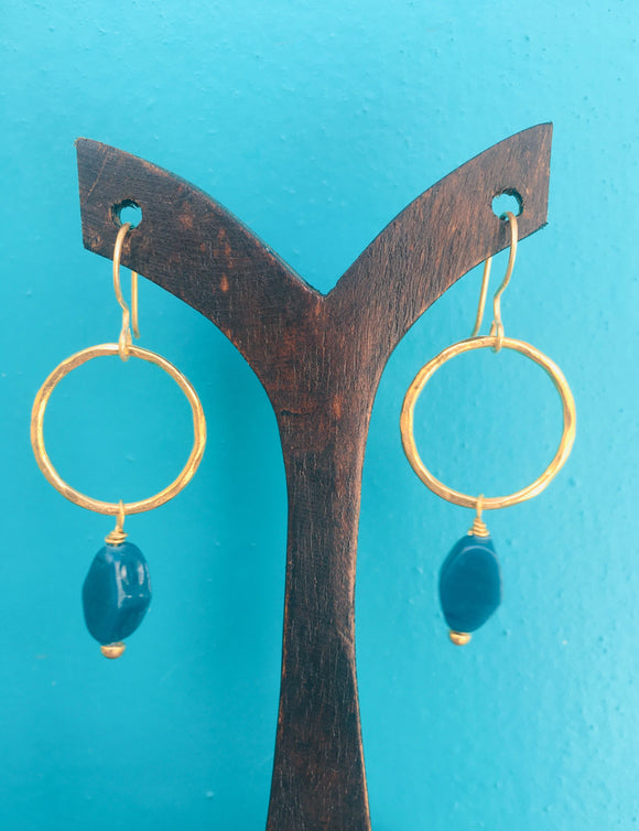 Jacqui Earrings Recycled Glass Teal