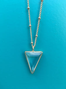 Power Triangle Large Rock Crystal Pendant