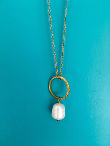 Creole with Pearl Pendant Necklace