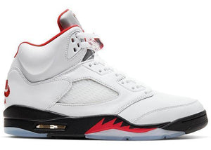Jordan 5 Fire Red Silver Tongue