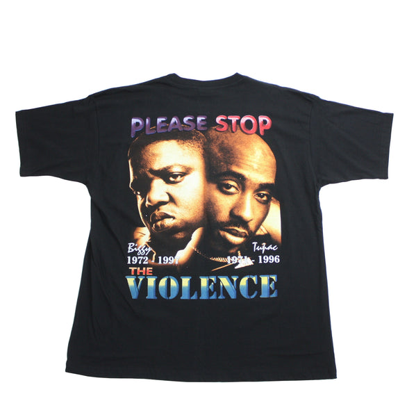 Vintage 2Pac x Biggie Stop The Violence Memorial Shirt - 2XL