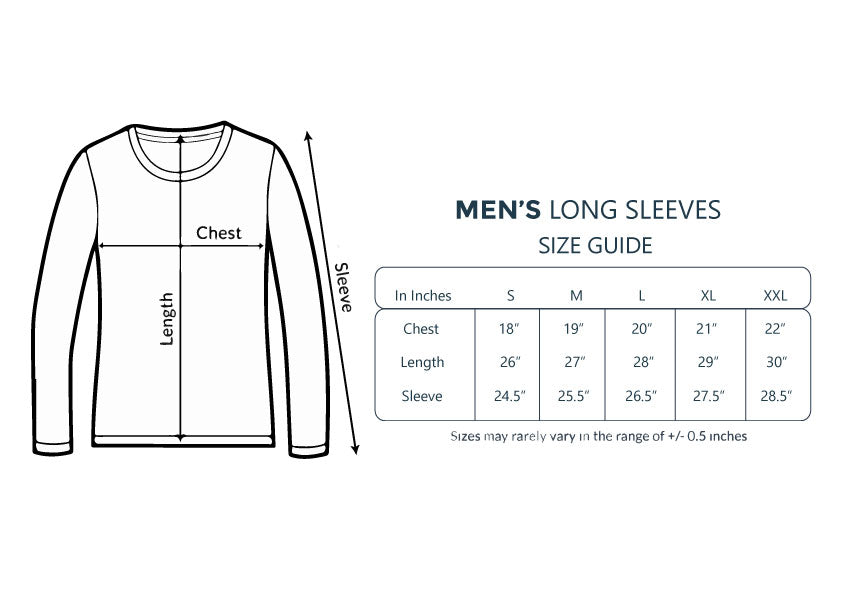 Men's long Sleeve Size Chart