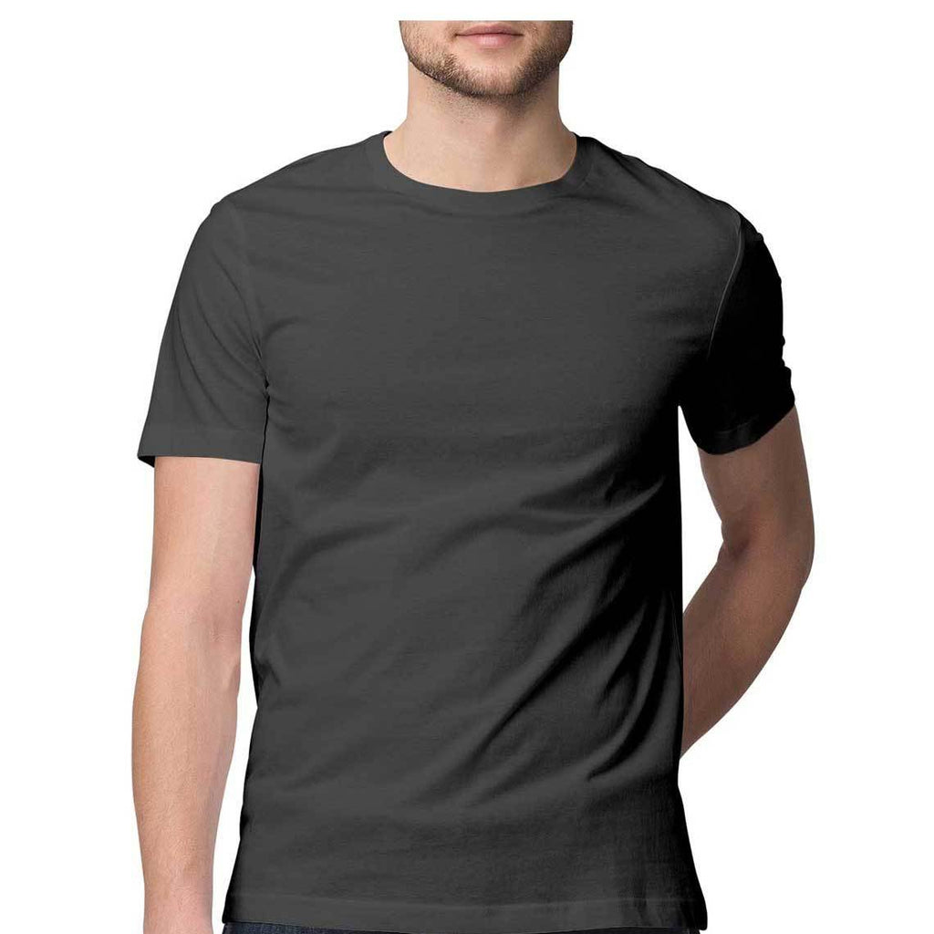 solid Charcoal Grey Tee - Half sleeve - men