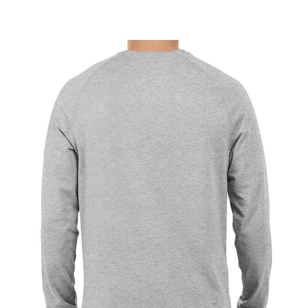 solid Melange Grey Tee - Full sleeve - men