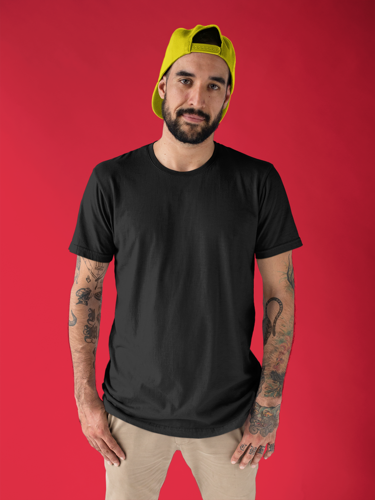 solid Black Tee - Half sleeve - men