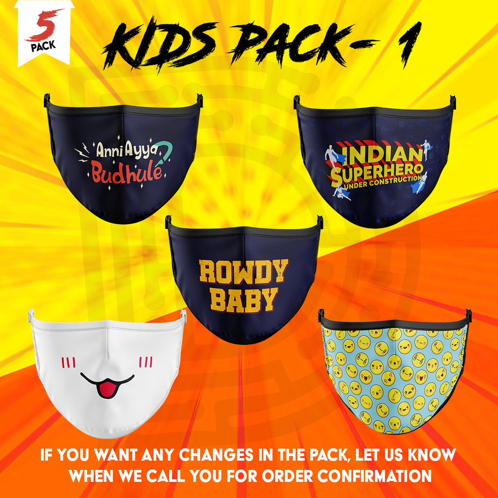 kids masks - pack of 5