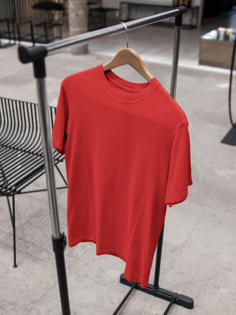 solid Red Tee - Half sleeve - men