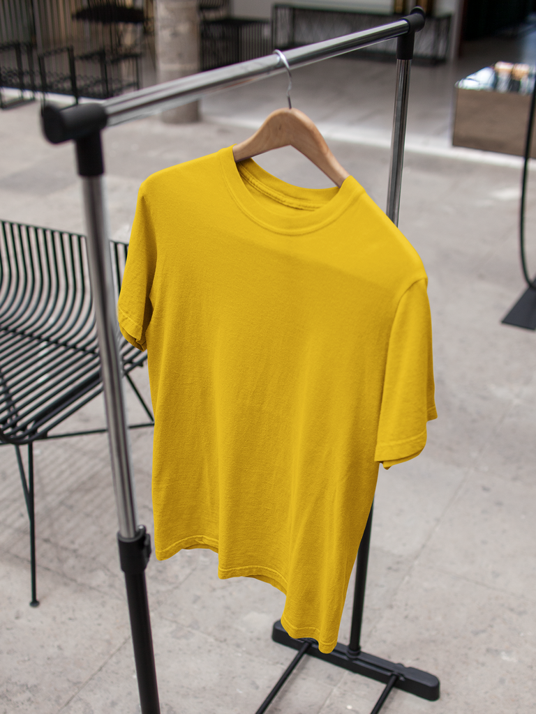 solid Golden yellow Tee - Half sleeve - men