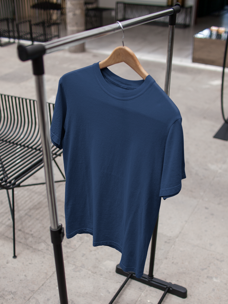 solid Navy Blue Tee - Half sleeve - men