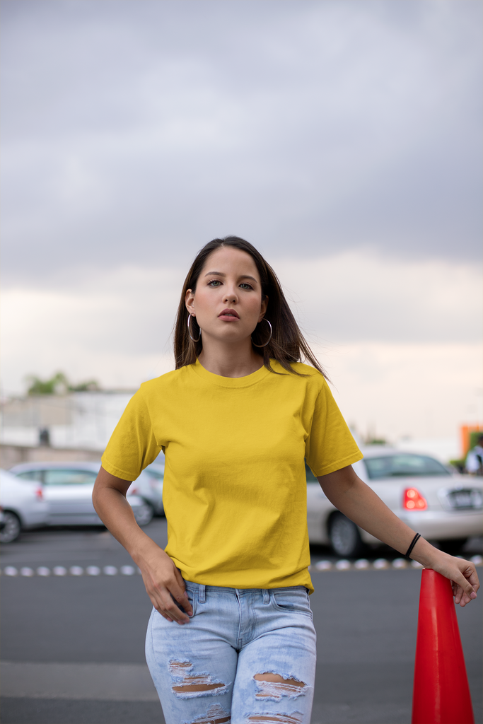 solid Golden yellow Tee - Half sleeve - women