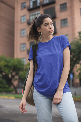 solid Royal Blue Tee - Half sleeve - women