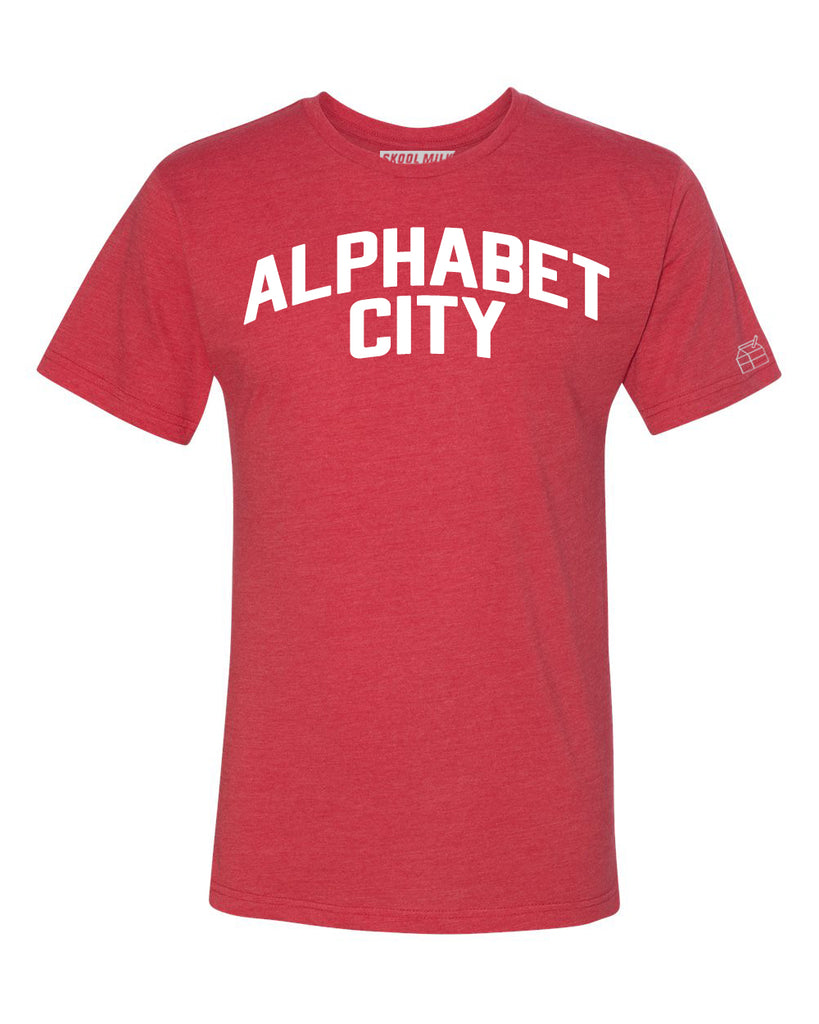 Red Alphabet City  T-shirt with White Reflective Letters