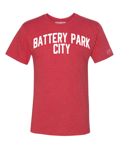 Red Battery Park City T-shirt with White Reflective Letters