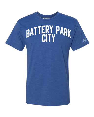Blue Battery Park City T-shirt with White Reflective Letters