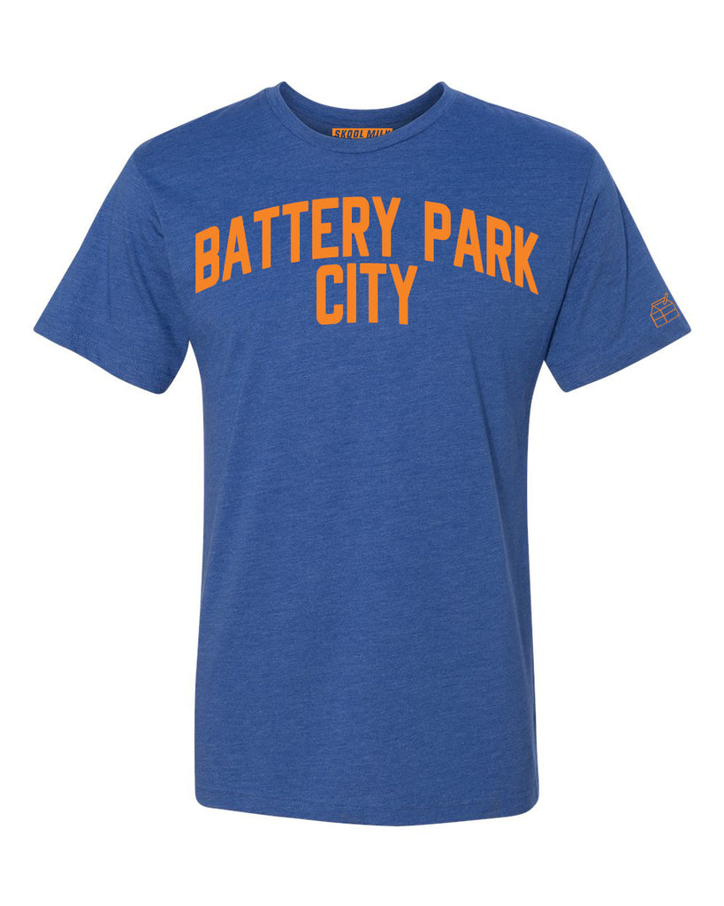 Blue Battery Park City T-shirt with Knicks Orange Letters