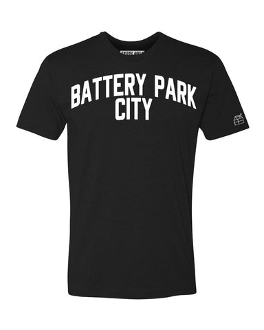 Black Battery Park City T-shirt with White Reflective Letters