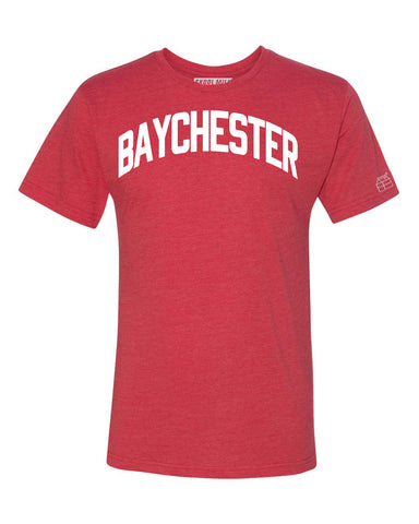 Red Baychester T-shirt with White Reflective Letters