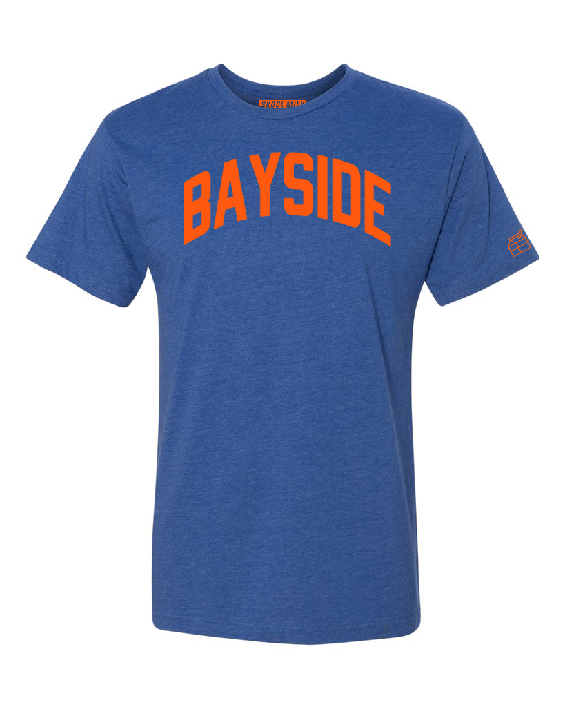 Blue Bayside T-shirt with Knicks Orange Letters