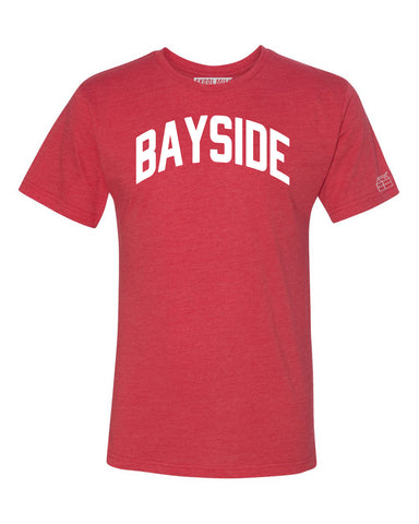 Red Bayside T-shirt with White Reflective Letters