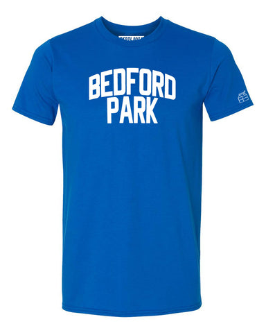 Blue Bedford Park T-shirt with White Reflective Letters