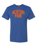 Blue Bedford Park T-shirt with Knicks Orange Letters