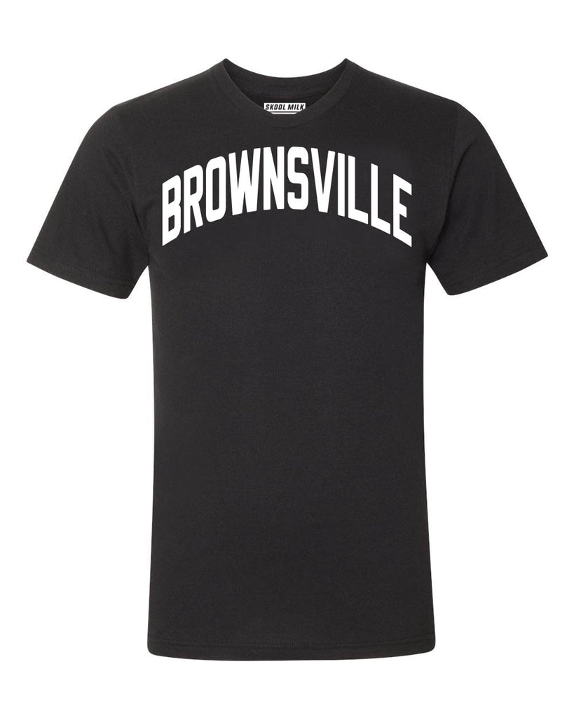 Black Brownsville Brooklyn T-shirt with White Reflective Letters